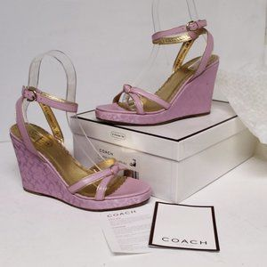 Coach Made in Italy Signature Wedge Sandal Worn 1X